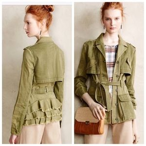 Anthro Hei Hei Military Green Ruffle Jacket